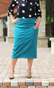 Colored Denim Skirt - New Teal XS/S