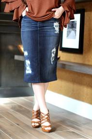 Mila Distressed Denim Skirt - Dark Wash - NEW DELIVERY DATE 8/30 (3rd shipment)