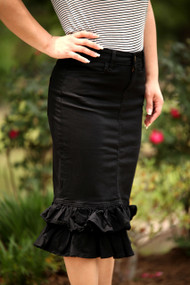 Julia Ruffle Skirt - Black - IN STOCK