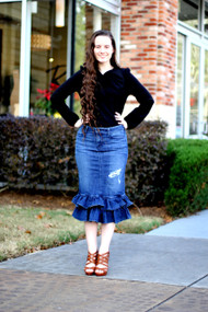 Julia Ruffle Denim Skirt - Distressed