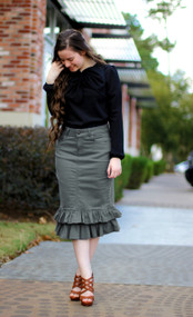 Julia Ruffle Denim Skirt - Gray