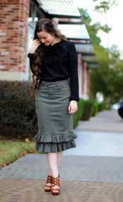 Julia Ruffle Denim Skirt - Gray