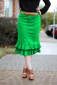 Julia Ruffle Denim Skirt - K. Green