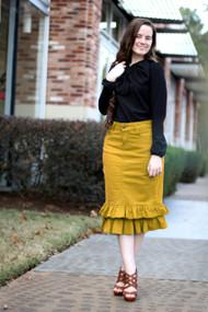 Julia Ruffle Denim Skirt - Mustard
