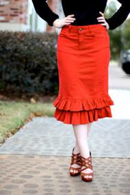 Julia Ruffle Denim Skirt - Red