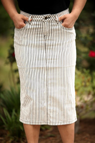 Kate Premium Denim Skirt - Stripe - IN STOCK