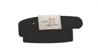 Perforated Belt Sailboat Logo Coal Black