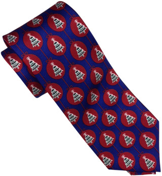 Christmas Holiday motif 100% Silk Tie Navy