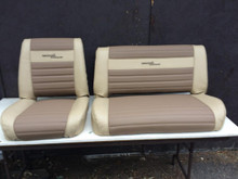 Beige and Tan two tone set of seat cover replacements with emblems