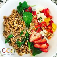 Strawberry Farro Caprese Salad