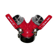 "Brass wye valve with 2 1/2"" female inlet and 2 1 1/2"" male outlets. Great for marine use"