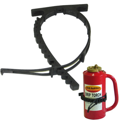 Quick fist drip torch mount shown with drip torch, not included, in secured position