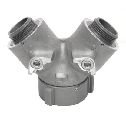"""2 1/2"""" FEMALE INLET WITH TWO 1 1/2"""" MALE OUTLETS."""