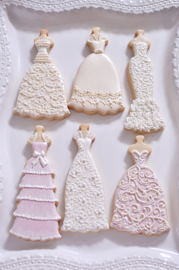 Decorated cookies by Marinold Cakes on etsy.  Beatrice dress is pictured with Gwendolyn, Fiona, Daisy, and Eva dresses (sold separately)