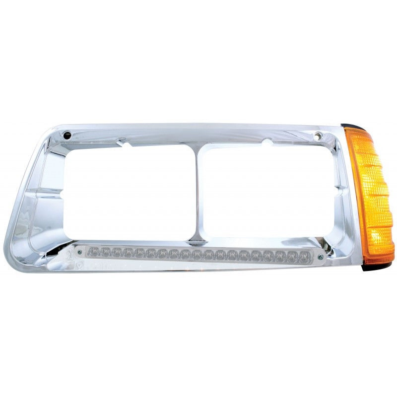 19 Amber LED Driver side headlight bezel with turn signal for Freightliner FLD