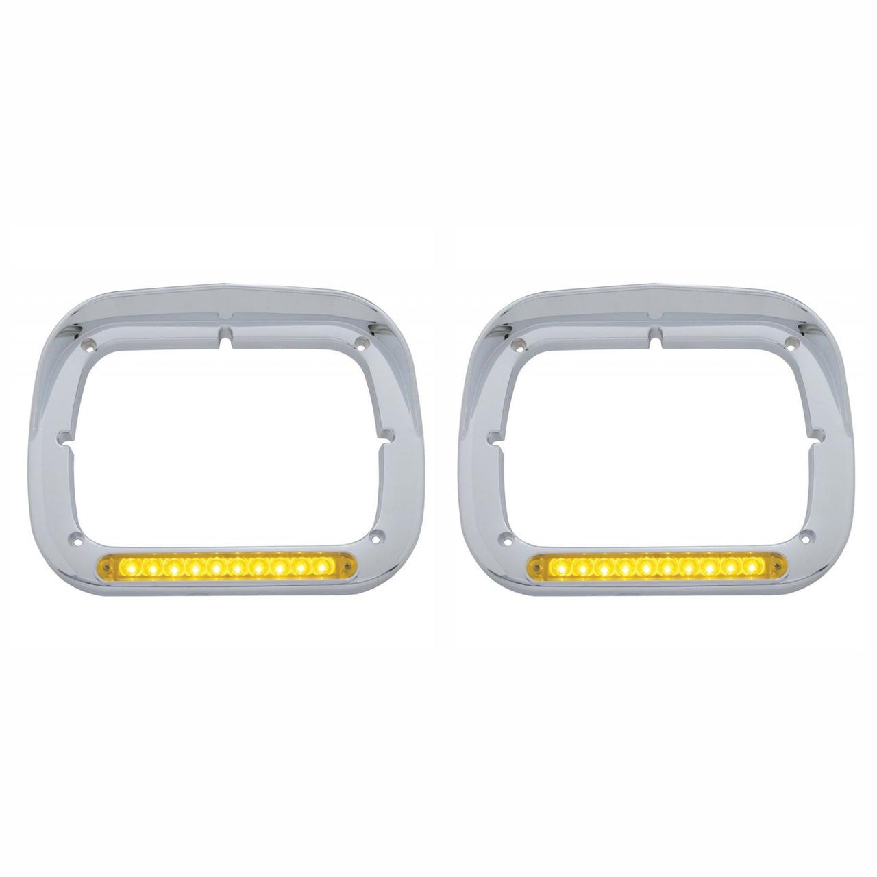 10 Amber LED Rectangular Headlight Bezel with Visor for Semi Trucks, Pair