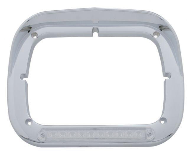 10 Amber LED Rectangular Headlight Bezel With Visor Semi Truck, Pair