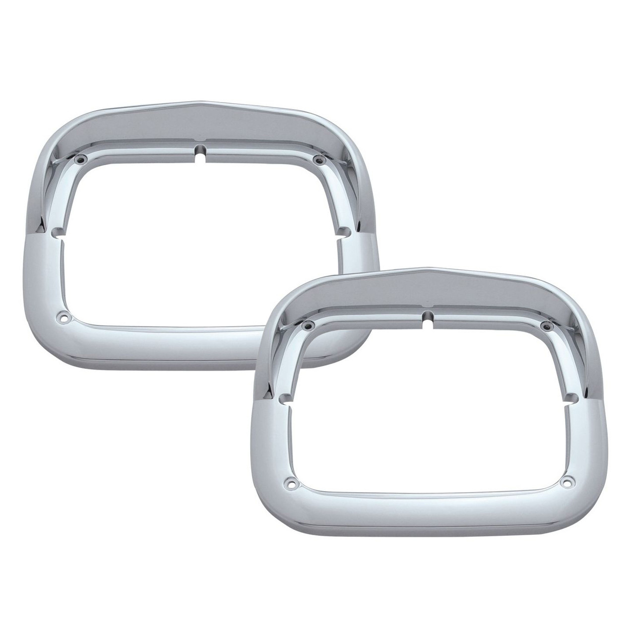 Chrome Plastic Headlight Bezels 6X8 single head light with visor for Peterbilt, Kenworth, Pair