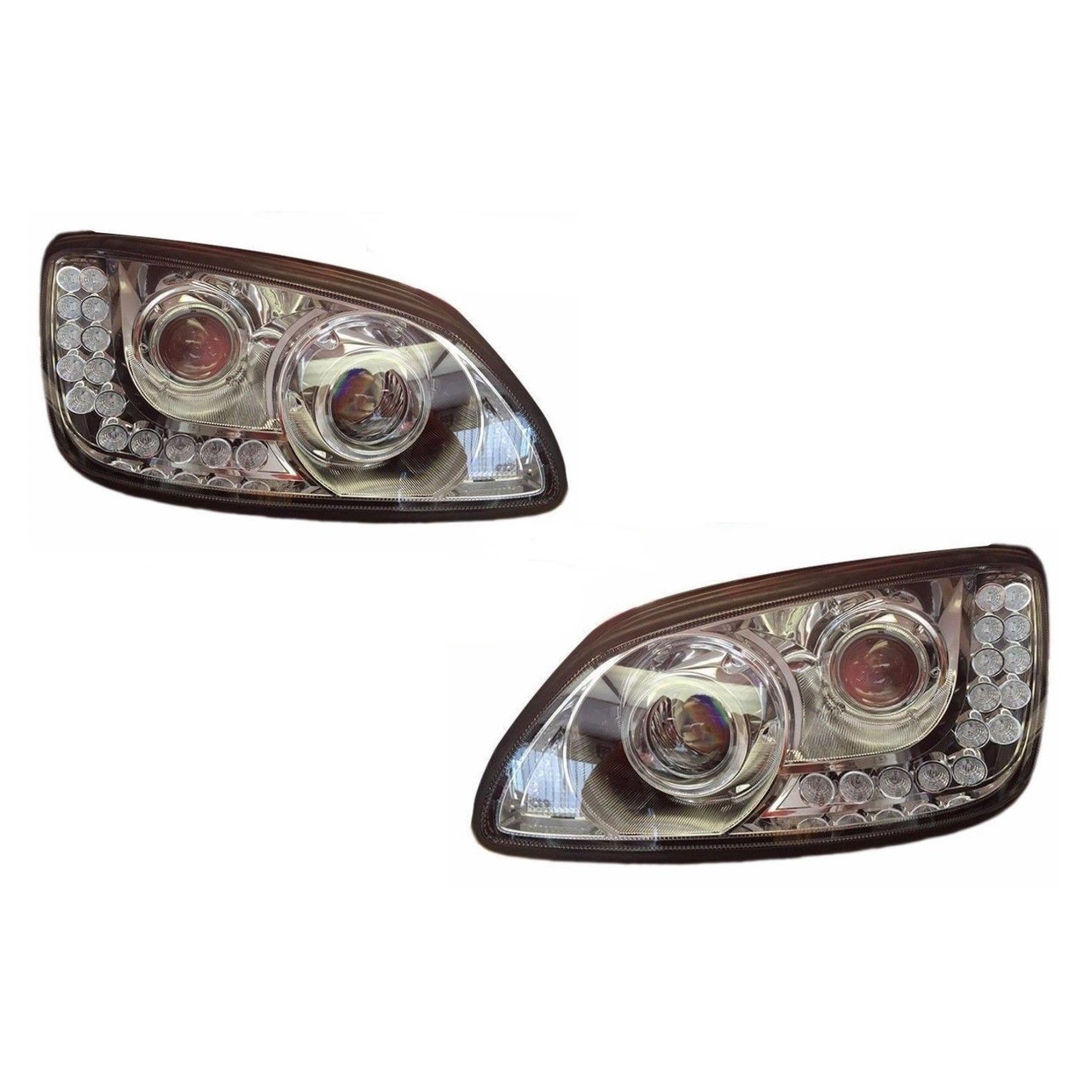 KENWORTH T660 CHROME PROJECTOR HEADLIGHT (SET ) 18 LED TURN SIGNAL
