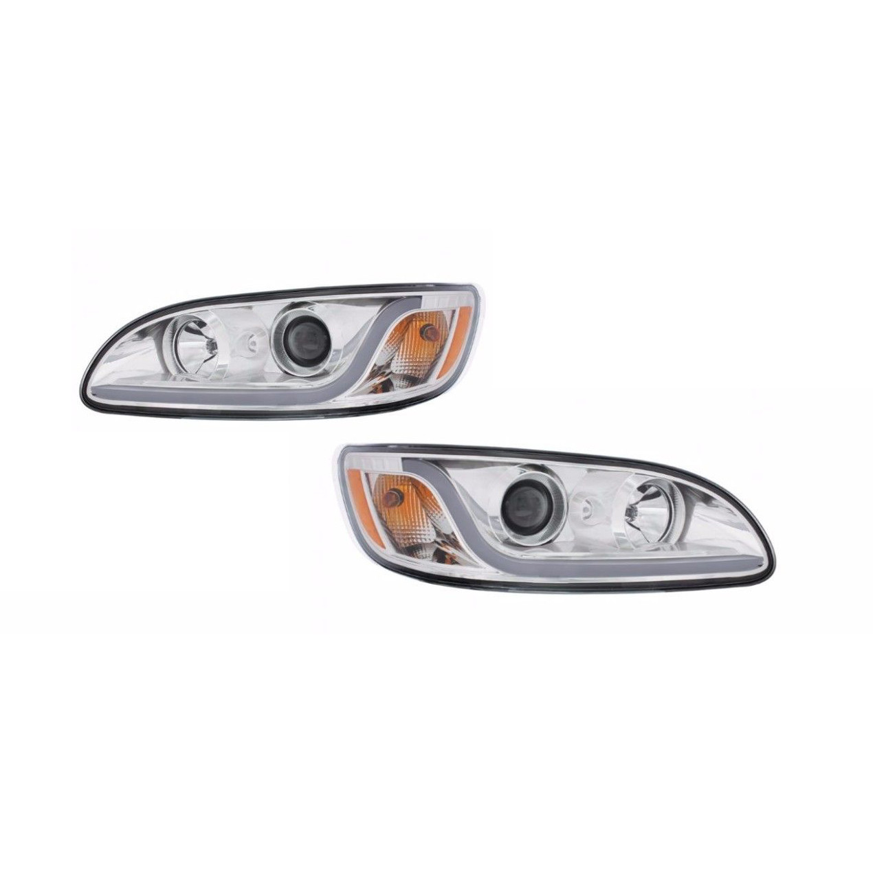 Peterbilt 386/387 Projection Headlight SET- (CHROME) LED Light Bars