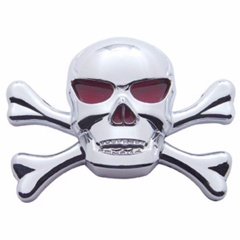 Chrome Skull & Cross Bone emblem with red eyes