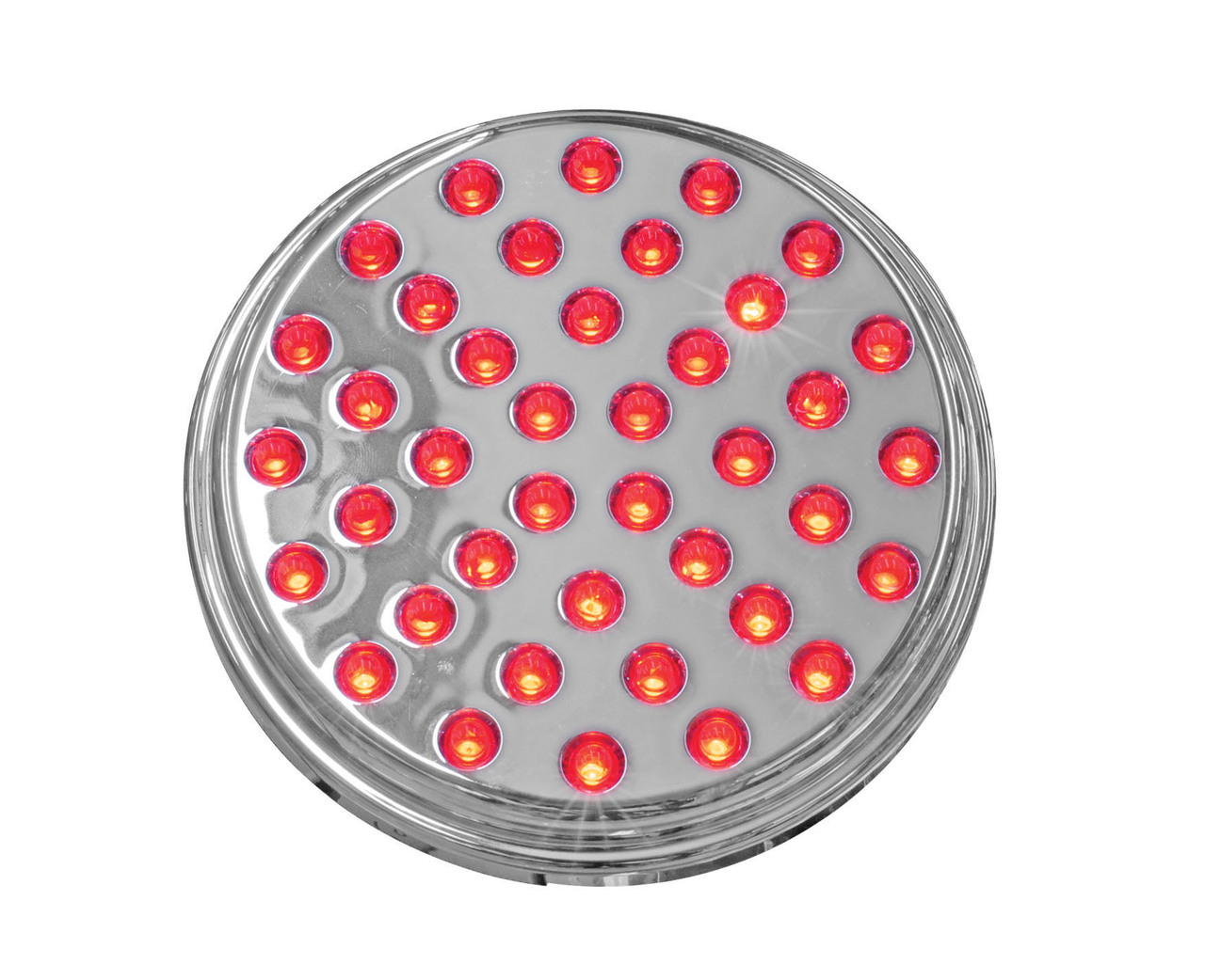 """4"""" Chrome Stop Turn Tail Lamp (40 LED) Red LED with Clear Lens"""