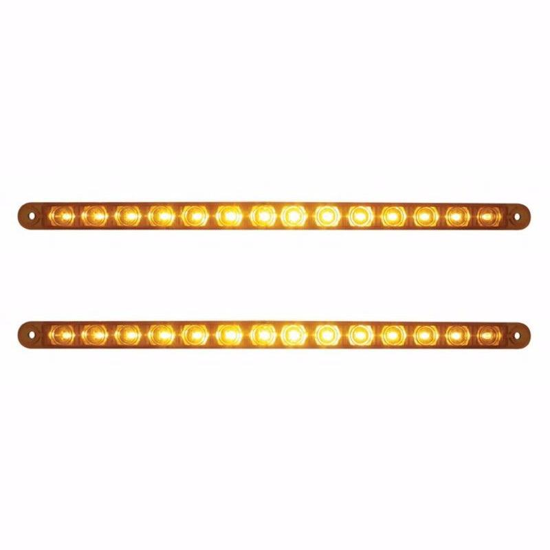 "12"" Amber 14 LED Truck Trailer RV Brake Stop Turn Tail Lights, Amber LED with Amber Lens (Pair)"
