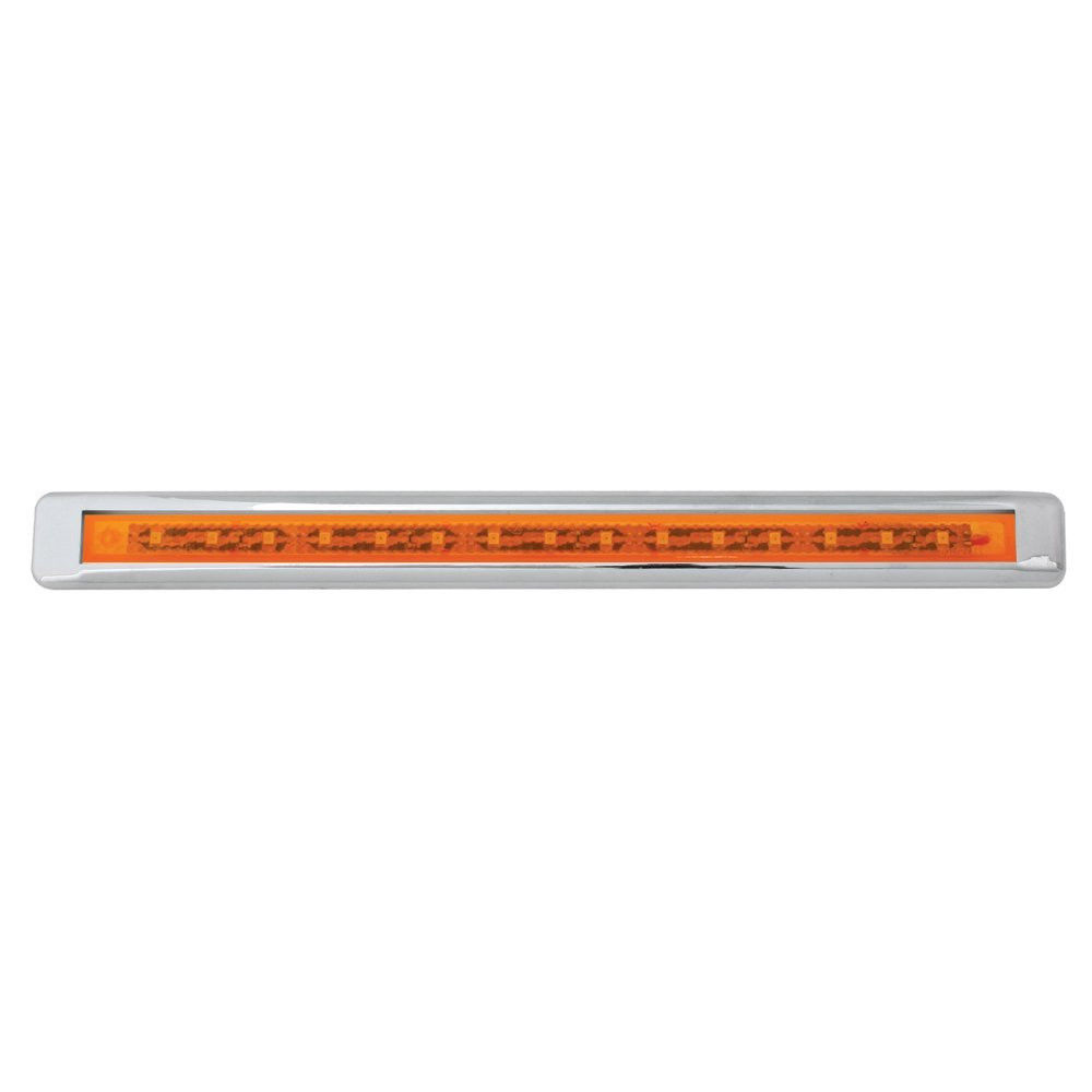 """12"""" Ultra Thin LED Marker/Clearance Light Bar With Chrome Bezel, Amber LED  with Amber Lens"""