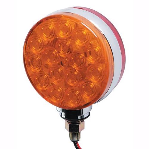 42 LED Red Amber Side Marker Turn Signal Semi Fender Lights, Pair