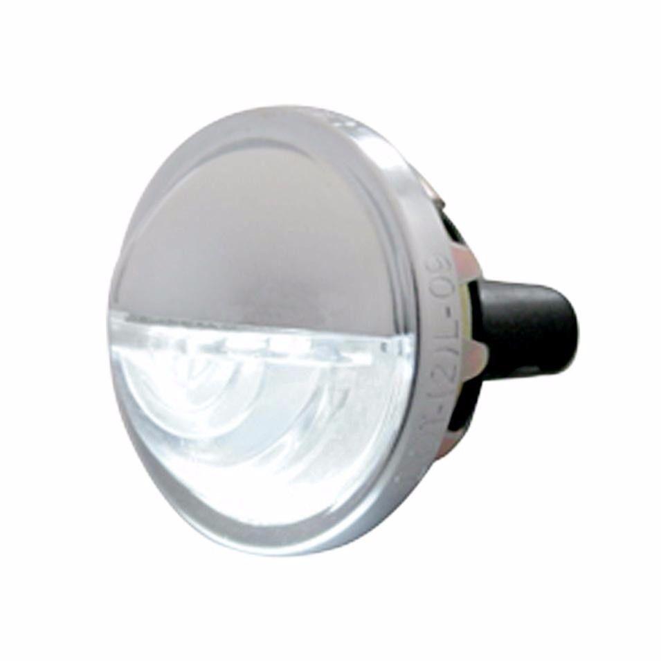 4 LED White License Plate Light - Round Metal Housing - Truck RV Semi Trailer