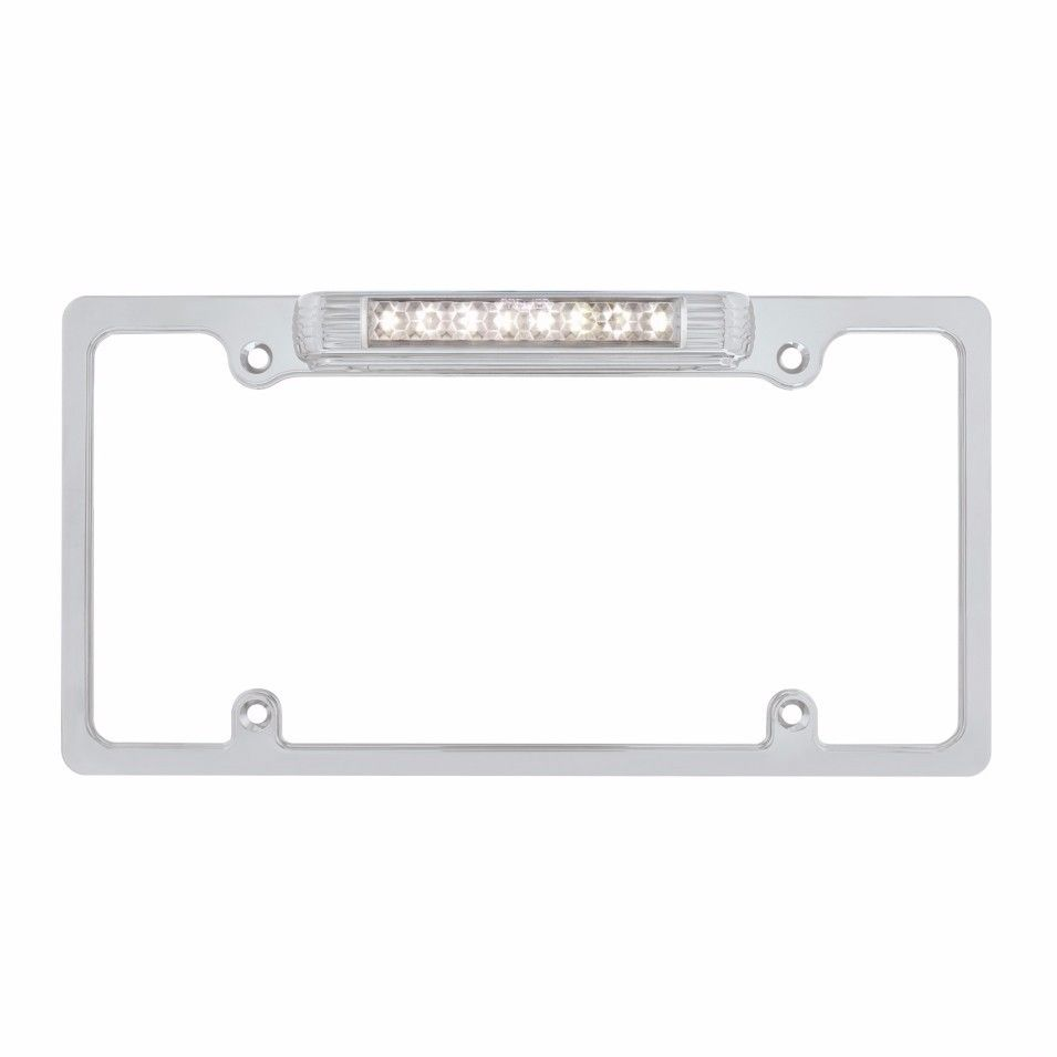 Chrome Deluxe LED License Plate Frame - White LED Back-Up Light