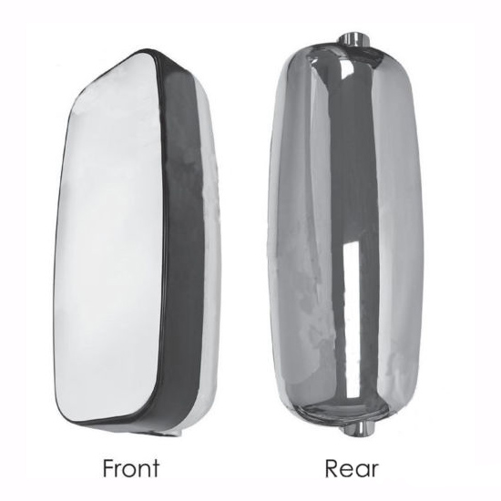 "8""x19"" Aerodynamic Chrome Mirror Head Manual Assembly, Flat Glass Mirror"