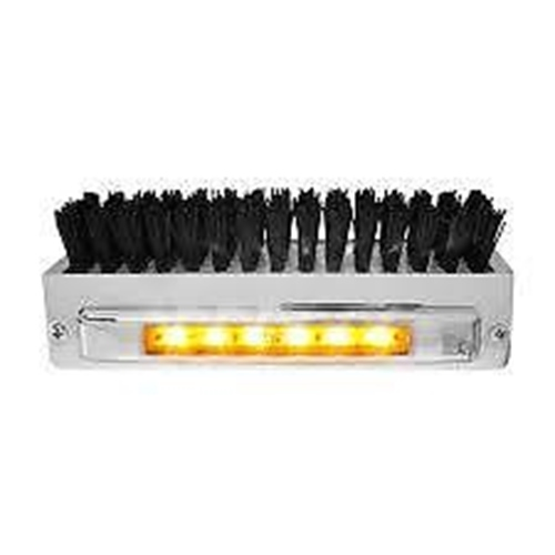 Boot Brush Caddie (6 LED) Amber LED/Amber Lens - Black brush chrome Peterbilt