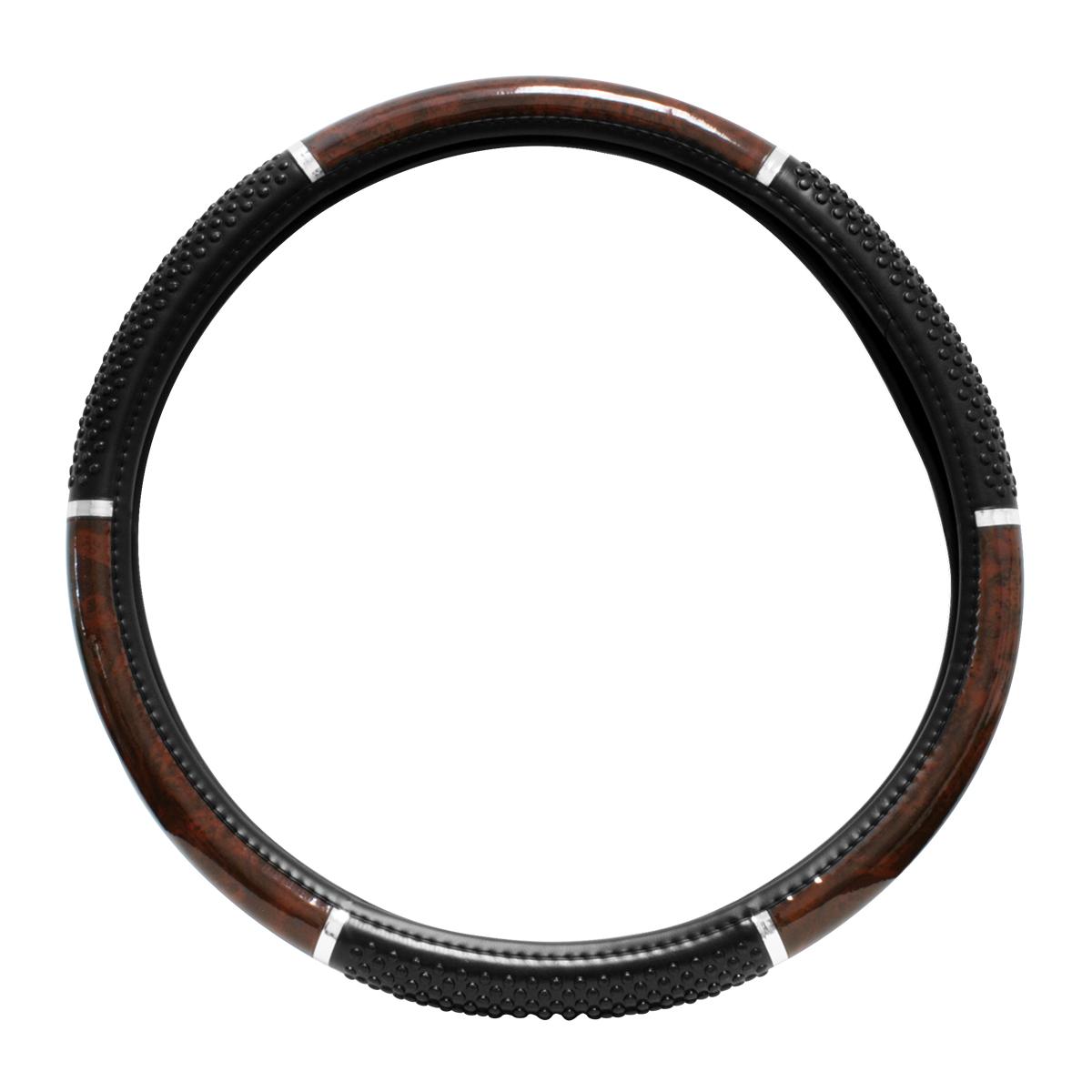 "Steering Wheel Cover, Dark Wood with Black soft raised Vinyl Beads for Semi Truck, 18"""