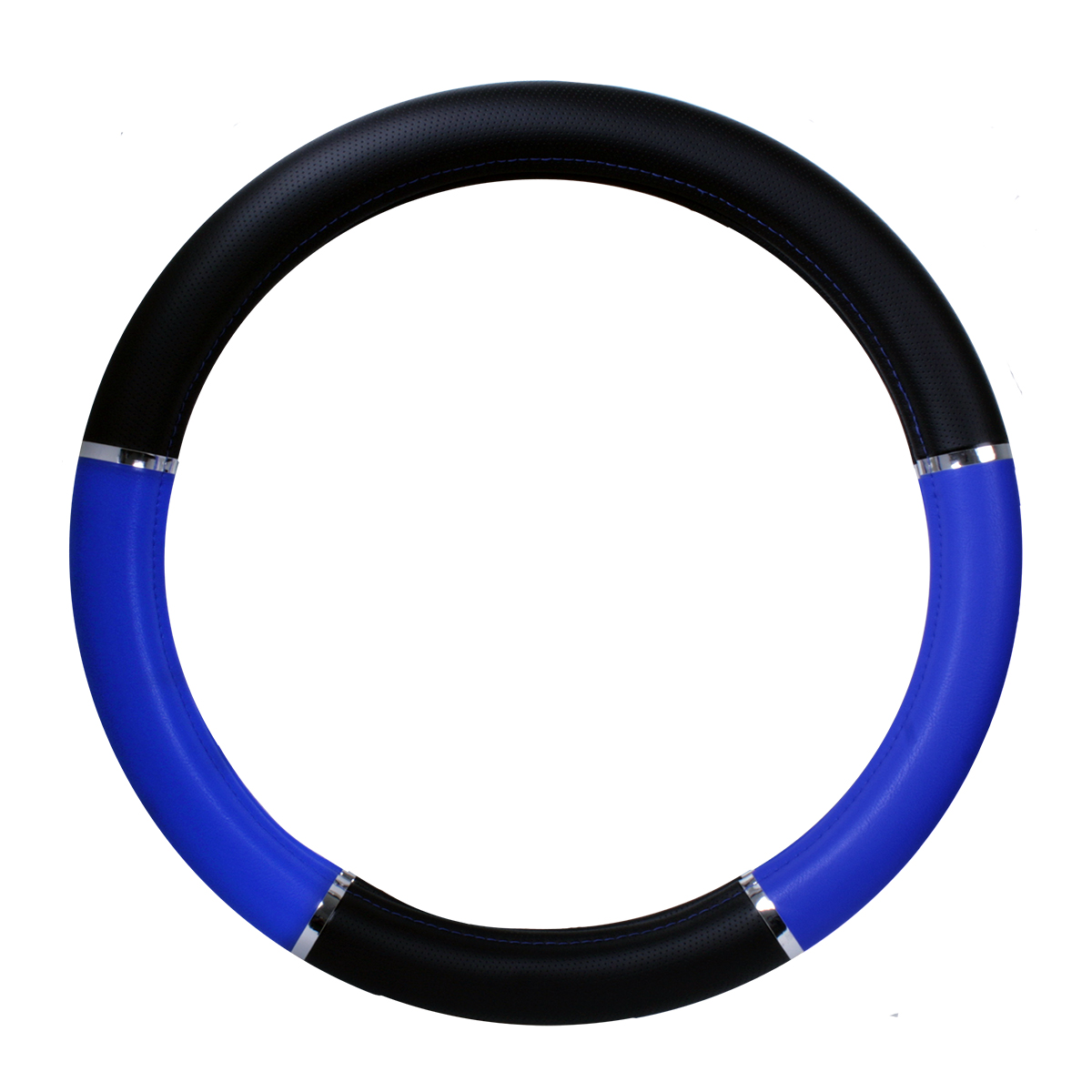 """Steering Wheel Cover - Heavy Duty with Chrome Trim, Black and Blue, 18"""""""