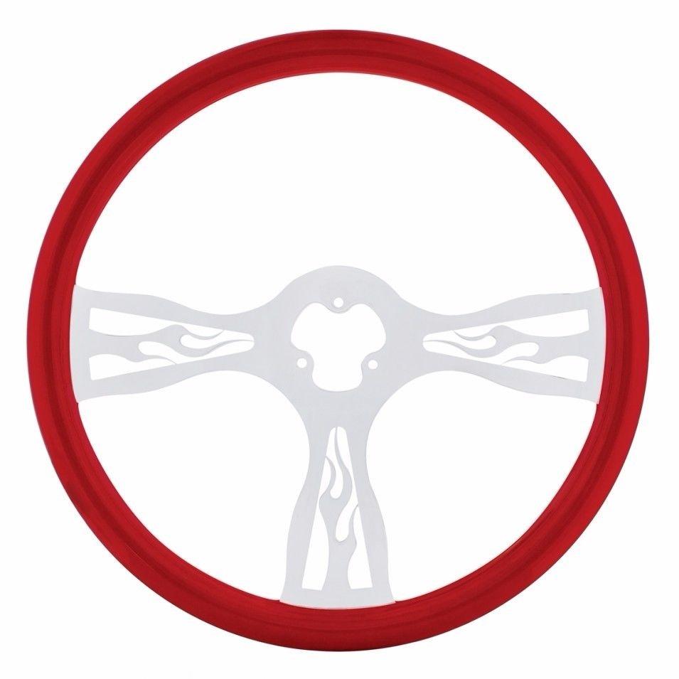 """18"""" Flame Steering Wheel for Peterbilt, Kenworth, Freightliner, International, Red"""