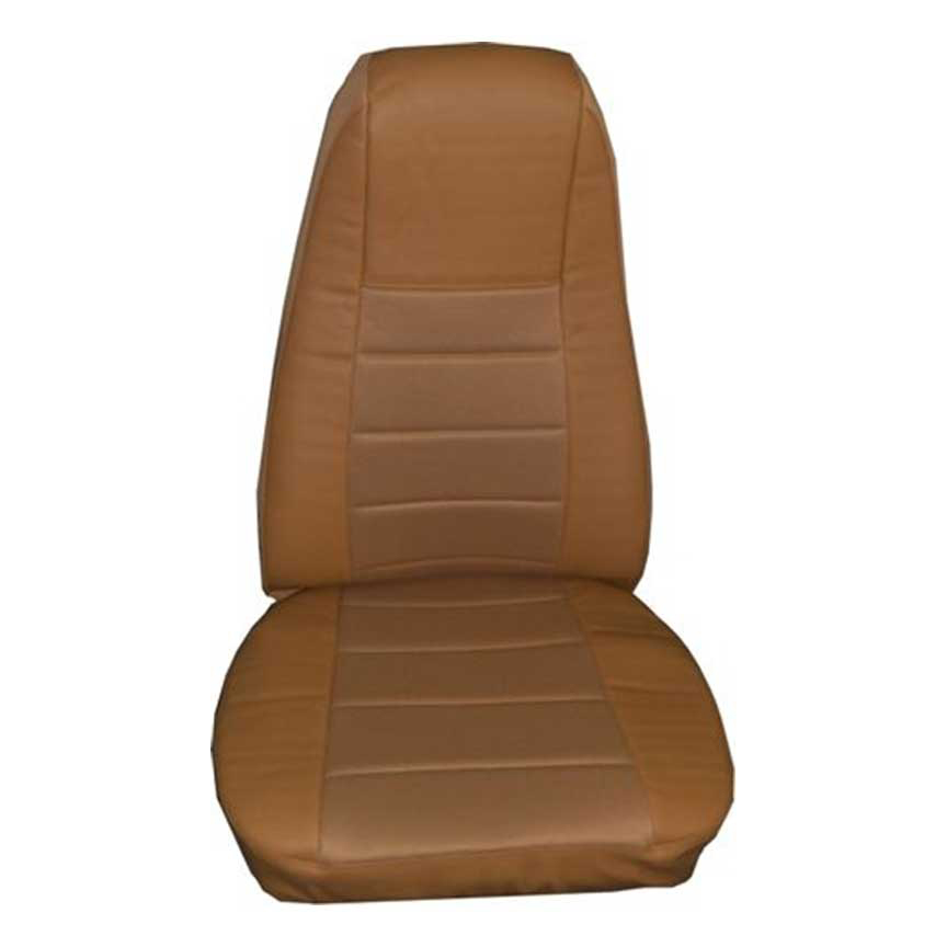 Tan Faux Leather Seat Cover with Pocket