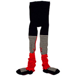 Eliane Et Lena My Little Cat Eva Tights - Noir/Ecru/Rouge