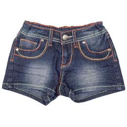 Hannah Banana Denim Shorts w/Multiple Contrast Stitches - Dark Stain Wash