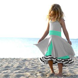 Pixie Girl Set Sail Dress  - Seafoam / Gray / Ivory