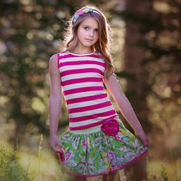 Persnickety Daffodils & Dandelions Josie Tank - Pink Stripe