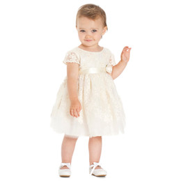 Biscotti French Antique Embroidered Tulle Dress - Ivory