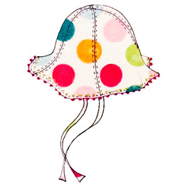 Catimini Spirit Couleur Reversible Hat w/Dots - Blanc