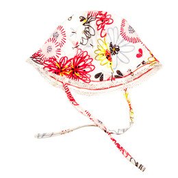 Catimini Spirit Graphic Reversible Hat w/Butterflies - Blanc