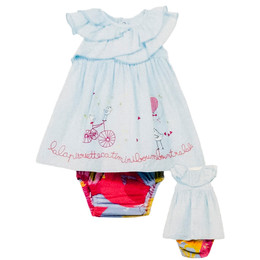 Catimini Spirit Couleur 2pc Dress & Bloomer Set - Ciel