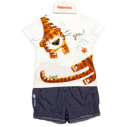 Catimini Spirit Graphic Boy 2pc Tiger Shirt w/Shorts - Blanc