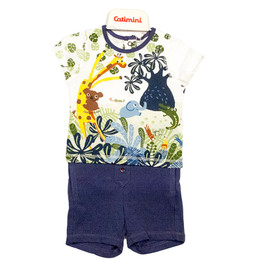 Catimini Spirit Graphic Boy 2pc Jungle Shirt w/Shorts - Blanc