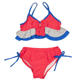 Isobella & Chloe Swim Bow-Tastic 2pc Bikini Swimsuit - Blue/Gray/Hot Pink
