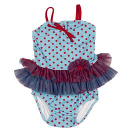 Isobella & Chloe Swim Under The Sea 2pc Tankini Swimsuit - Teal/Red
