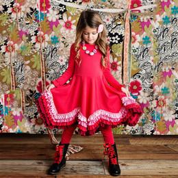 Lemon Loves Lime 2pc Crayon Power Dress w/Leggings Set - Poinsettia
